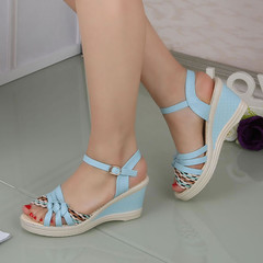 New women's wedge heel platform sandals with a buckled women's shoes blue 36