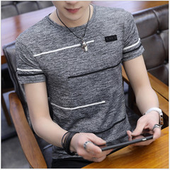 New men's ice silk quick-drying short-sleeved round neck t-shirt summer short sleeve gray m cotton