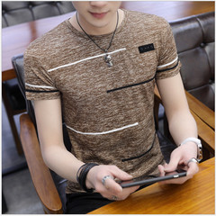 New men's ice silk quick-drying short-sleeved round neck t-shirt summer short sleeve brown xl cotton