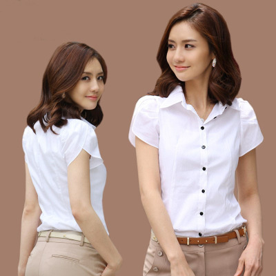 New women's shirt short-sleeved professional wear summer cotton shirt large size Slim white 2xl