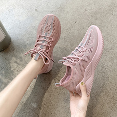 New ladies breathable flying woven sports shoes wild casual sports women shoes pink 36
