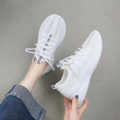 New ladies breathable flying woven sports shoes wild casual sports women shoes white 36