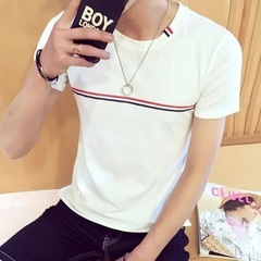 Summer new men's slim short-sleeved T-shirt striped short sleeve white m cotton