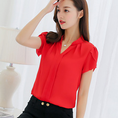 New Women Shirt Chiffon Tops Elegant Ladies Formal Office Blouse Chiffon shirt red s