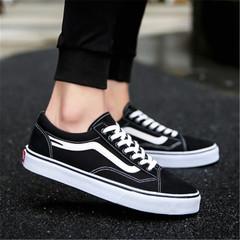 New men's fashion casual canvas shoes men's low-top shoes breathable shoes black 39