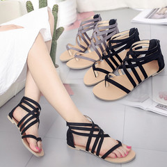 New ladies fashion large size flat with Roman sandals female cross strap sandals women slippers black 42