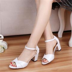 New ladies fashion sandals wild thick women's sandals buckle with women's sandals white 36