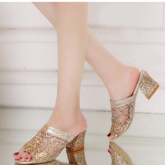 New women's fashion sandals casual rhinestone thick with solid color wild women's shoes golden 36