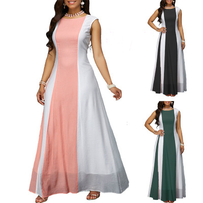 New ladies fashion chiffon long dress women's large size summer women long dress 4xl pink