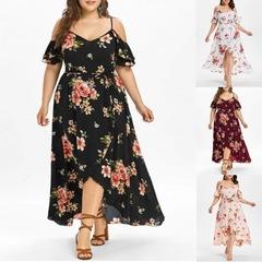 Women Casual Short Sleeve Cold Shoulder Boho Flower Print Plus Size Long Dress l black