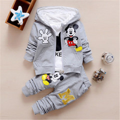 New children's boys and girls clothing set 3 piece hooded jacket gray 80