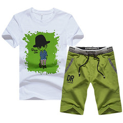 New men's fashion sports short sleeve suit T-shirt shorts and pants set green m t-shirts and pants