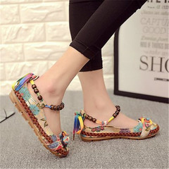 New ladies fashion women's shoes beaded weaving lace shoes national wind straps shallow mouth shoes brown 39