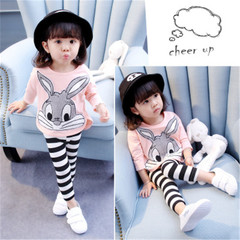 New girl cotton two-piece girl cartoon suit including clothes and pants pink 80cm