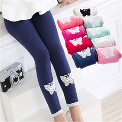 New children's spring and autumn leggings lace nine pants in the big children and girls cartoon blue 90