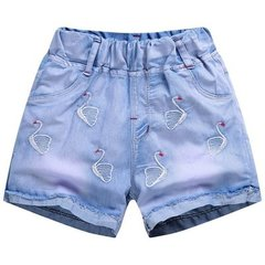 Girls denim shorts summer casual children's pants in the big children wear children's pants blue1 100