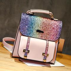 New shoulder bag fashion sequins u backpack wild shoulder Messenger bag pink high quality and large capacity