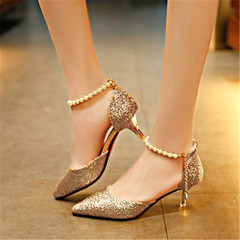 New women's fashion shiny rhinestone stiletto heel women's sandals hollow beaded shoes golden 36
