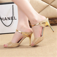 Summer new women's fashion sandals, slippers, sandals, small heels and large shoes golden 36