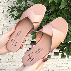 Summer New Ladies fashion, leisure, simple flat-soled slippers and sandals pink 36