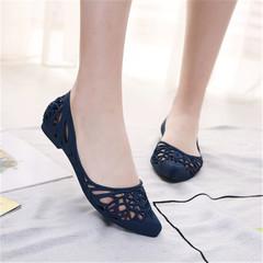 New women's fashion sandals, women's flat heels and shallow slats, casual single shoes black 36