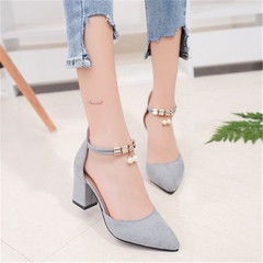 New women's fashion high heels for women's workplace pumps with pumps and straps slippers shoes gray 36
