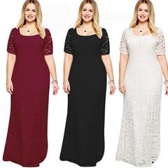 New women's fashion plus-size women's elegant  dress short-sleeved dress lace maxi dress xl black