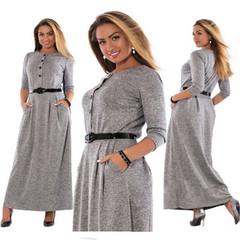 New ladies fashion elegant pure color long sleeve high waist women's long skirt dress l gray
