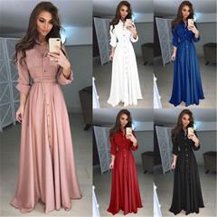 New Women's Fashion Slim Long Sleeve Button and Long Skirt Dress 4xl pink