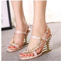 Summer's new women's rhinestone platform sandals with open-toe wedges beige 36