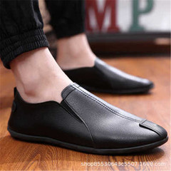 New spring and summer men's casual leather shoes fashion men's shoes black 40 rubber