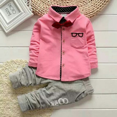 Baby Sets Kids Long Sleeve Sports Suits Bow Tie include T-shirts and Pants Boys Clothes pink 70