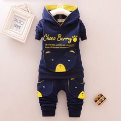 Boys Girls  Sport Suit Children  Clothing Set  Casual Kids Clothes include coat and pant navy 80
