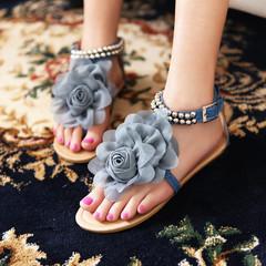 Stylish women's sandals three-dimensional flower large casual flat women's sandals blue 36