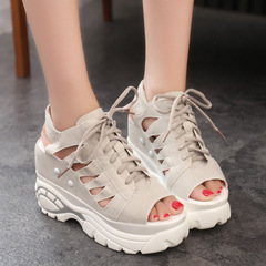 New women's style summer wedge sandals with thick soles and cut-out sandals gray 36