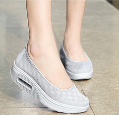 New women's mesh air permeable pad platform high sport casual women's shoes single shoes sandals gray 36