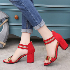 The new women's fashionable and elegant buckled high-heeled sandals shoes red 36