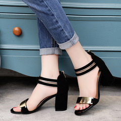 The new women's fashionable and elegant buckled high-heeled sandals shoes black 37