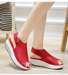 Plus-size women's slippers summer's new platform platform sandals shoes red 36