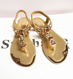 Summer women's sandals, water drills, herringbone low-end flat shoes, shoes and sandals golden 36
