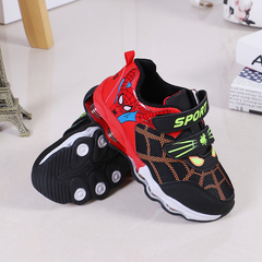 Children's sports shoes new boys' and girls' non-slip soft sole spring children's casual shoes black&red 34