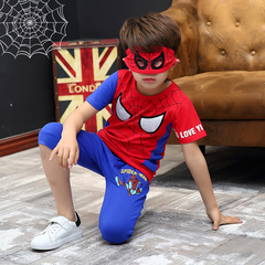 Boys'Cartoon Dress Spider-Man's New Kid Superman Includes Short Sleeves and Pants Set red 110