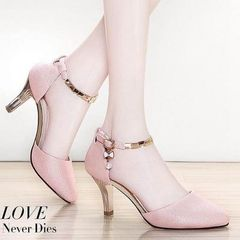 Women's summer new fashion high heel shoes women's rhinocerine narrow heel sandals pink 39