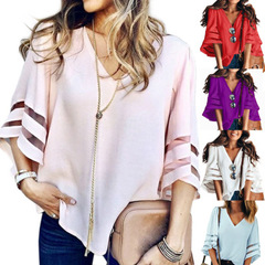 New style ladies'fashionable large size net yarn stitching V-neck horn sleeve pure color jacket pink s
