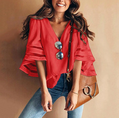 New style ladies'fashionable large size net yarn stitching V-neck horn sleeve pure color jacket red 2xl