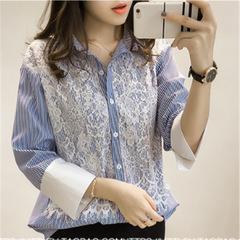 New women's loose lace patchwork base shirt women's plus-size striped long-sleeved shirt blue m