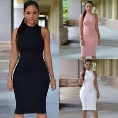 Women Dress Fashion Casual Summer Sleeveless Dresses Office Printing Slim Tight Nightclub  Dress s black