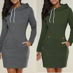 Women  Casual Straight Solid Dress Ladies Long Sleeve Hooded Pockets Mini Dresses Plus Size dark  gray S