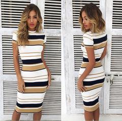 Women Summer Stripe  Dress Short Sleeve Ladies Knee Length Dress Plain Jersey Stretch  Dress s yellow