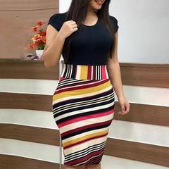 New women coloured flowers hip dress big size women's clothing s black